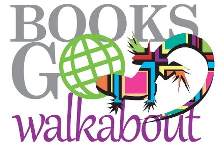 The logo of Books go Walkabout, designed by graphic artist Jim Simpson